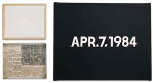1984, Kawara, On, Apr.7,1984, liquitex doek op kartonnen doos & krantenknipsel NYT, 22x27, privécollectie